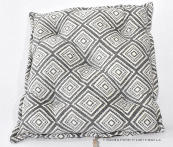 Warm deluxe fleece dog cat pet pillow. White and gray.