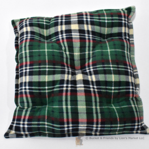 Warm deluxe fleece dog cat pet pillow. Green plaid.
