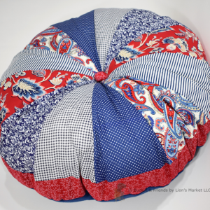 Pouf dog bed. Fluffy and soft. Red white and blue.