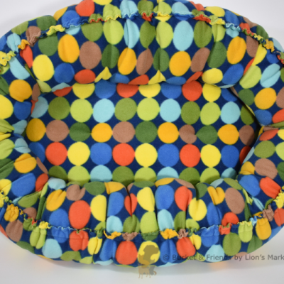 Warm snugly fleece dog cat pet bed. Size small. Multi colored circles.