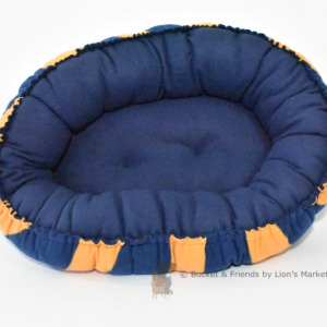 Warm snugly fleece dog cat pet bed. Size small. Navy Blue with Orange-Yellow rugby stripe.
