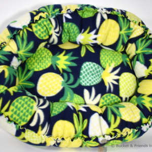 Warm snugly fleece dog cat pet bed. Size small. Navy Blue with pineapples.