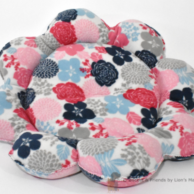 Warm snugly fleece dog cat pet bed. Flower style. Pink blue and gray floral.