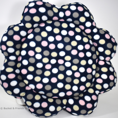 Warm snugly fleece dog cat pet bed. Flower style. Navy blue with pink tan and white polka dots.