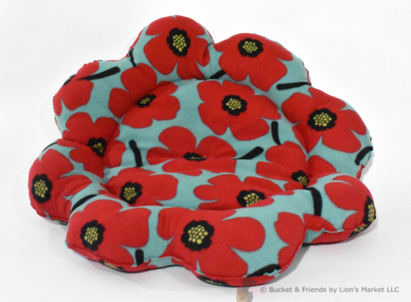 Warm snugly fleece dog cat pet bed. Flower style. Blue with red poppies.