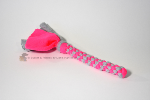 Braided fleece tug toy.