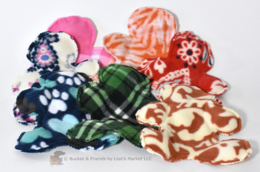 Stuffing-less fleece dog toy with five squeakers.