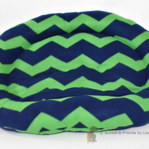 Warm snugly fleece dog bed. Size large. Navy blue and green chevron.