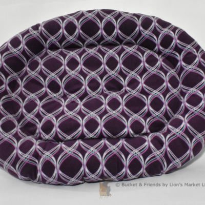 Warm snugly fleece dog bed. Size large. Purple ribbon design.