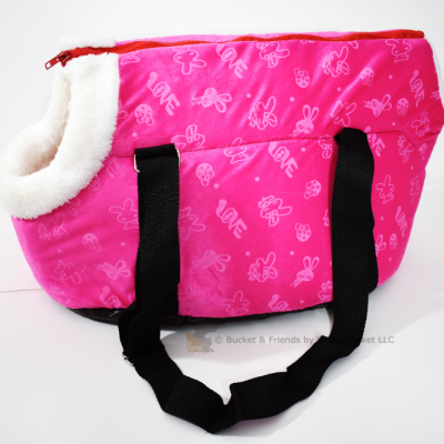 Purse style cat dog carrier. Pink.