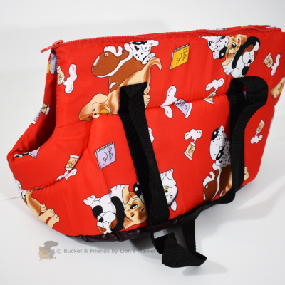 Purse style cat dog carrier. Red.