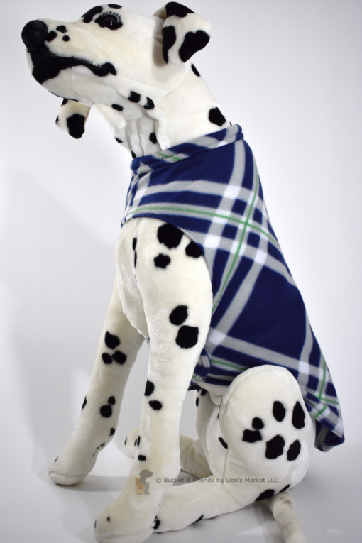 Soft and warm fleece dog coat size large by bucketandfriends.com. Navy blue and gray large plaid.