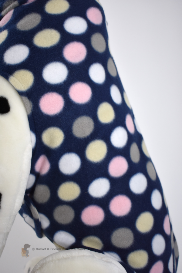 Soft and warm fleece dog coat size large by bucketandfriends.com. Navy blue with pink tan and white polka dots.