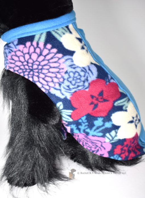 Soft and warm fleece dog coat size medium by bucketandfriends.com. Floral with blue stripe.