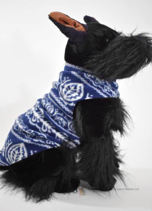 Soft and warm fleece dog coat size medium by bucketandfriends.com. Blue and white sweater.