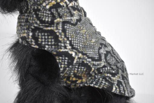 Soft and warm fleece dog coat size medium by bucketandfriends.com. Black and tan snakeskin.