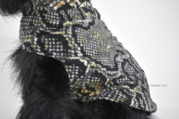 Soft and warm fleece dog coat size medium by bucketandfriends.com. Black and tan snakeskin.