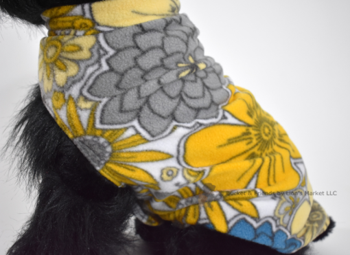 Soft and warm fleece dog coat size medium by bucketandfriends.com. Yellow and gray flowers.