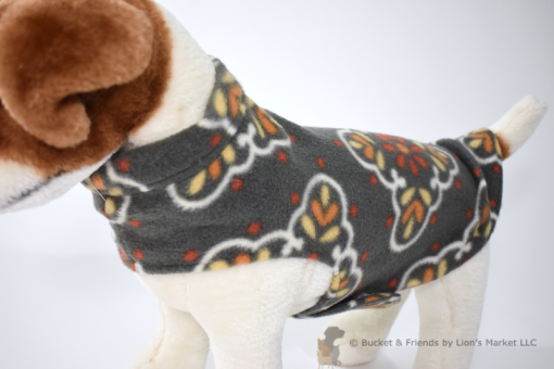 Soft and warm fleece dog coat size small by bucketandfriends.com. Gray with orange yellow and white design.