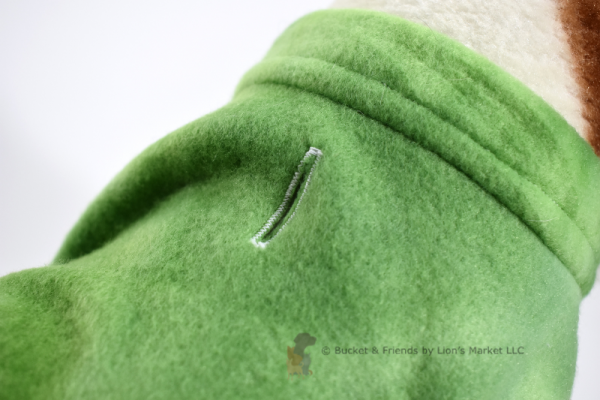 Soft and warm fleece dog coat size small by bucketandfriends.com. Green tie dye.