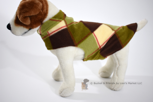 Soft and warm fleece dog coat size small by bucketandfriends.com. Green white and brown plaid.