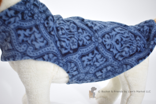 Soft and warm fleece dog coat size small by bucketandfriends.com. Navy with blue design.