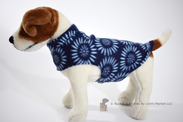 Soft and warm fleece dog coat size small by bucketandfriends.com. Navy with blue flowers.