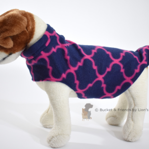 Soft and warm fleece dog coat size small by bucketandfriends.com. Navy with magenta design.