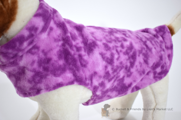 Soft and warm fleece dog coat size small by bucketandfriends.com. Purple.