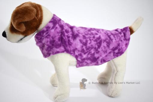 Soft and warm fleece dog coat size small by bucketandfriends.com. Purple.