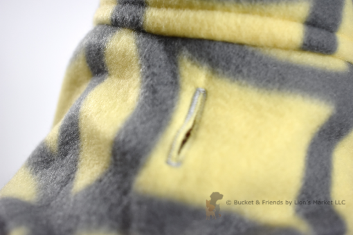 Soft and warm fleece dog coat size small by bucketandfriends.com. Yellow with gray design.