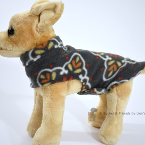 Soft and warm fleece dog coat size extra small by bucketandfriends.com. Gray with orange yellow and white design.