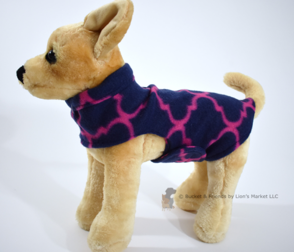 Soft and warm fleece dog coat size extra small by bucketandfriends.com. Navy with magenta design.