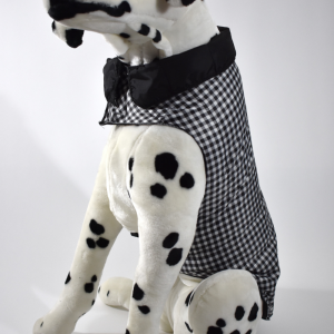 Warm insulated dog coat. Black and white check. Size large.