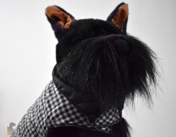 Warm insulated dog coat. Black and white check. Size medium.