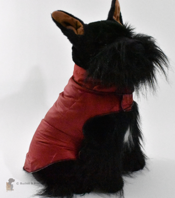 Warm insulated dog coat. Red. Size medium.
