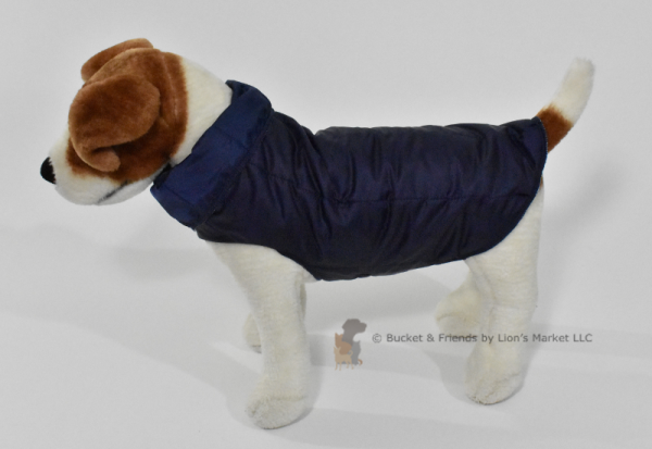Warm insulated dog coat. Navy Blue. Size small.