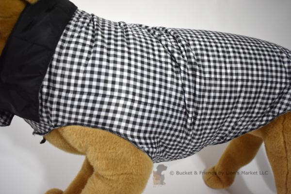Warm insulated dog coat. Black and white check. Size extra large.