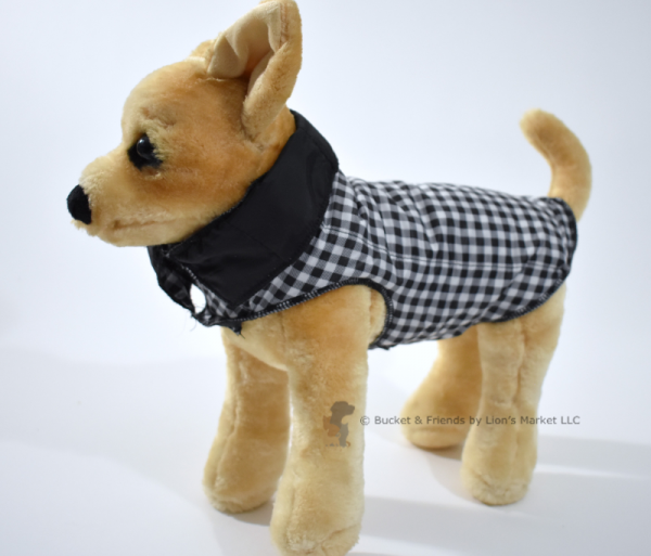 Warm insulated dog coat. Black and white check. Size extra small.