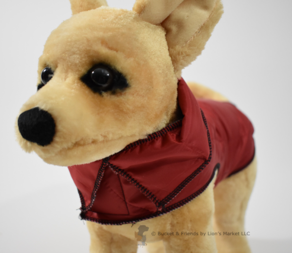 Warm insulated dog coat. Red. Size extra small.