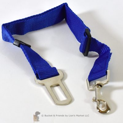 A must have for a safety conscious dog owner. The safety strap attached to their harness and clicks into the safety belt latch in your car. See more at bucketandfriends.com.