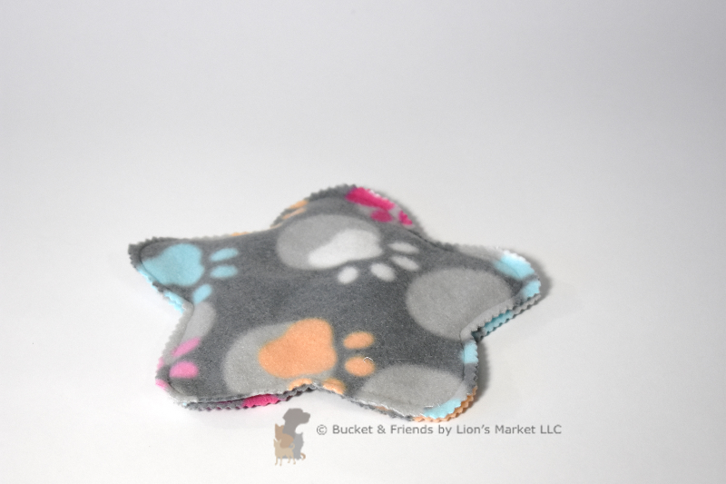 Stuffing-less fleece dog toy with crinkle paper.