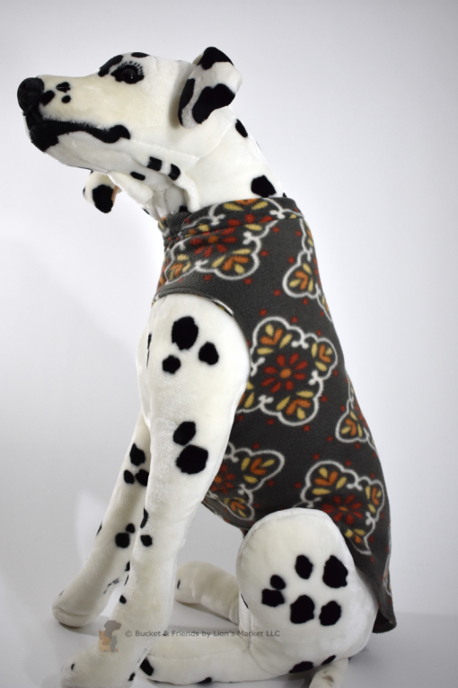 Soft and warm fleece dog coat size large by bucketandfriends.com. Gray with orange and yellow design.