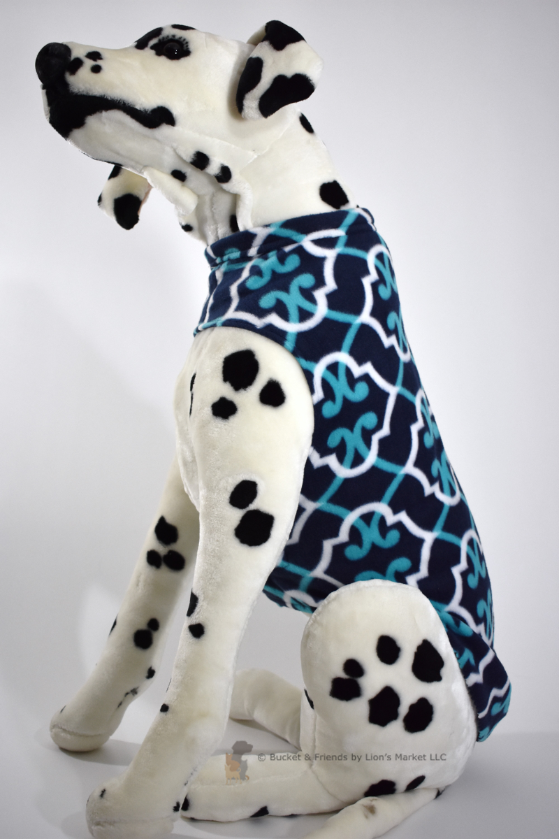 Soft and warm fleece dog coat size large by bucketandfriends.com. Navy blue with teal and white design.