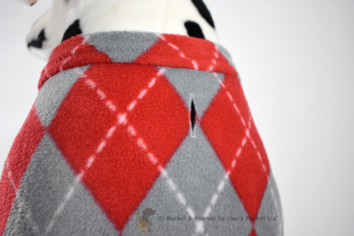Soft and warm fleece dog coat size large by bucketandfriends.com. Red and gray argyle.