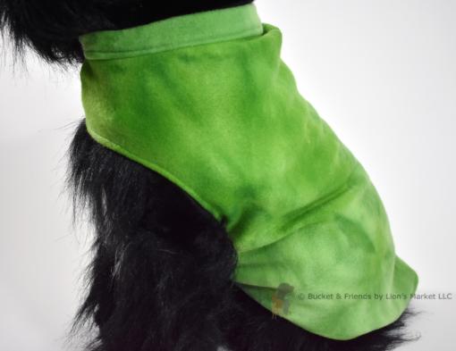 Soft and warm fleece dog coat size medium by bucketandfriends.com. Green tie dye.