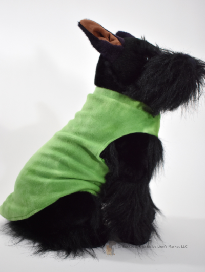 Soft and warm fleece dog coat size medium by bucketandfriends.com. Green tie dye.