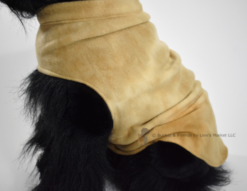 Soft and warm fleece dog coat size medium by bucketandfriends.com. Tan tie dye.
