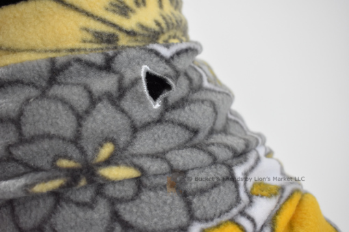 Soft and warm fleece dog coat size medium by bucketandfriends.com. Yellow and gray flowers.