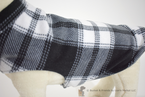 Soft and warm fleece dog coat size small by bucketandfriends.com. Black and white plaid.